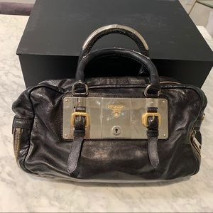 Prada Black Leather Handbag Purse